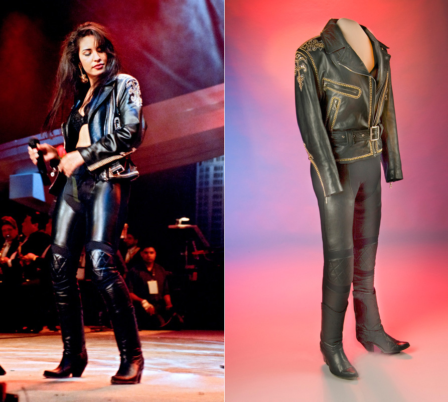 Two images. On the left, Selena Quintanilla-Pérez standing on stage during a performance wearing a costume that includes leather pants and jeans. On the right, the leather pants and jeans, now staged on a museum mannequin, in front of multi-colored backgr