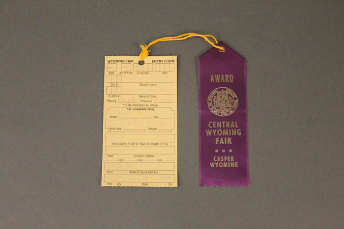 A purple ribbon tied to a fair label