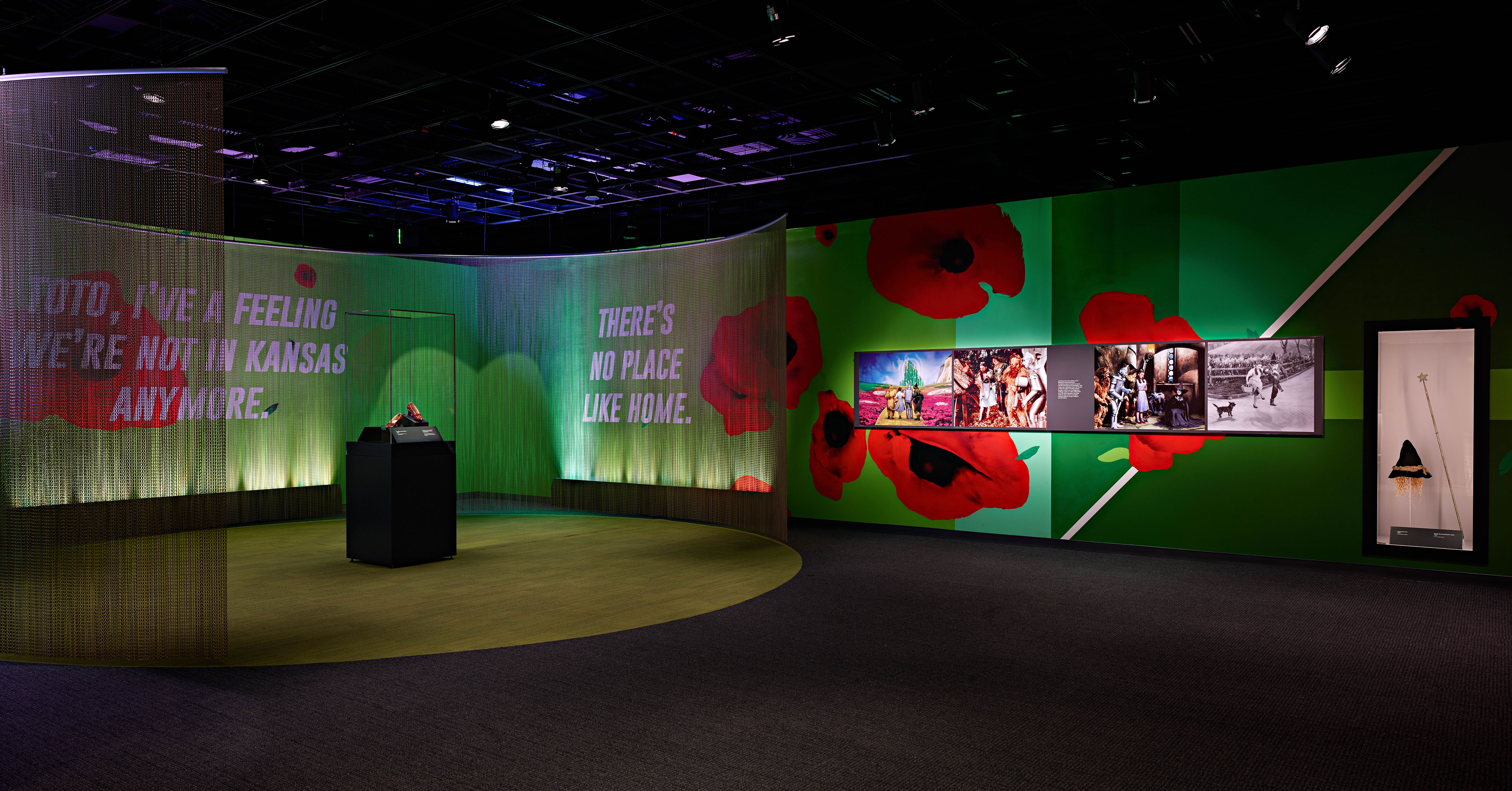 "Ruby Slippers in a case with a black bottom and clear top. Rectangular. Gallery has a green circle on the floor with grey around it. ""There's no place like home"" in white on wall with mural of red poppies on green background."