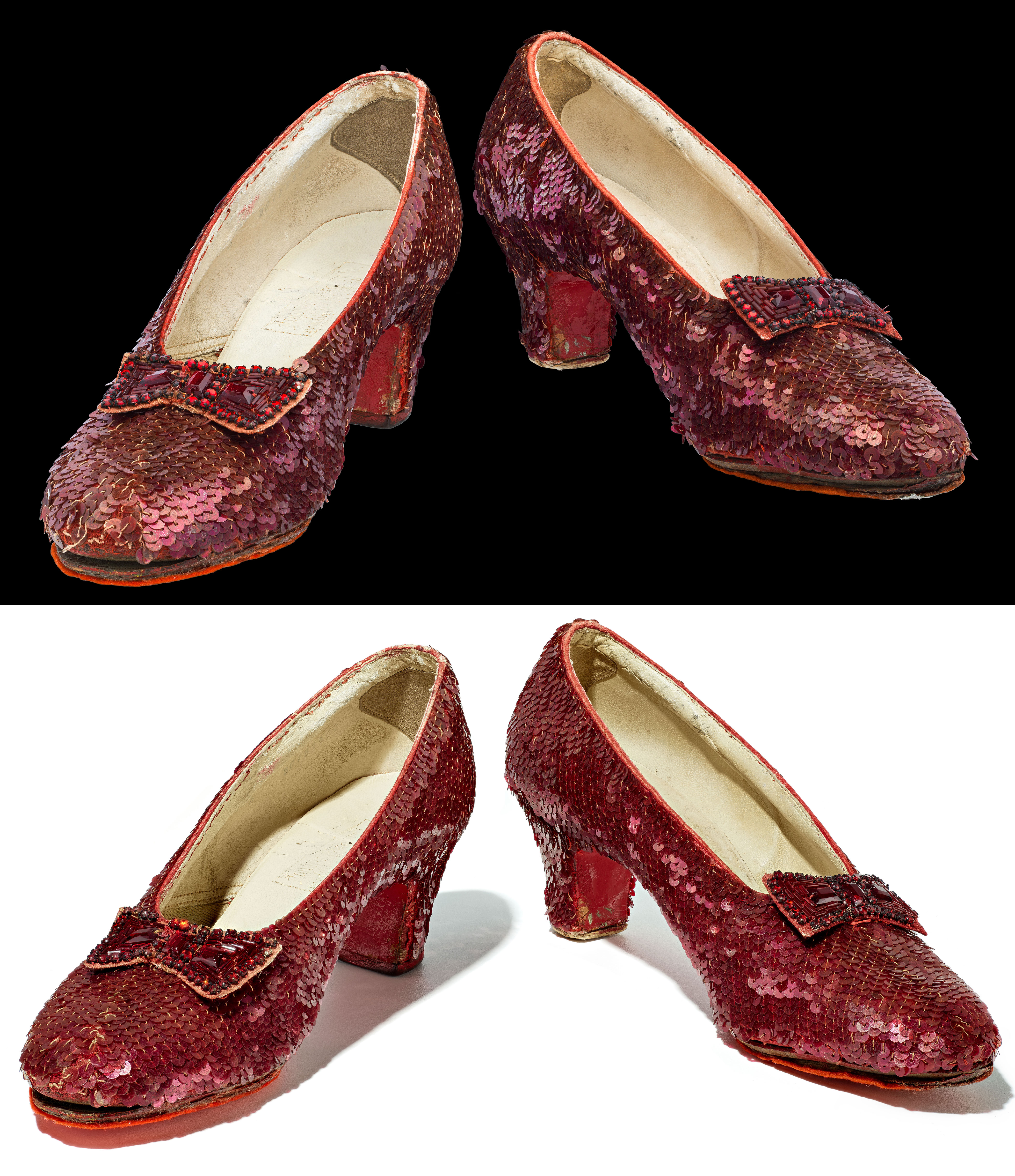 Two photos of a pair of Ruby Slippers. Top image shows shoes before conservation. Bottom shows shoes after conservation. Sequins are more aligned, beads are brighter.