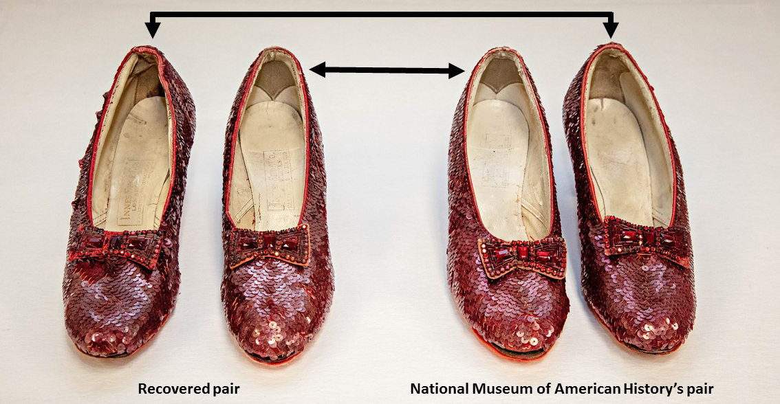 Two pairs of Ruby Slippers, covered in red sequins. Black arrows indicate which shoes create a pair.