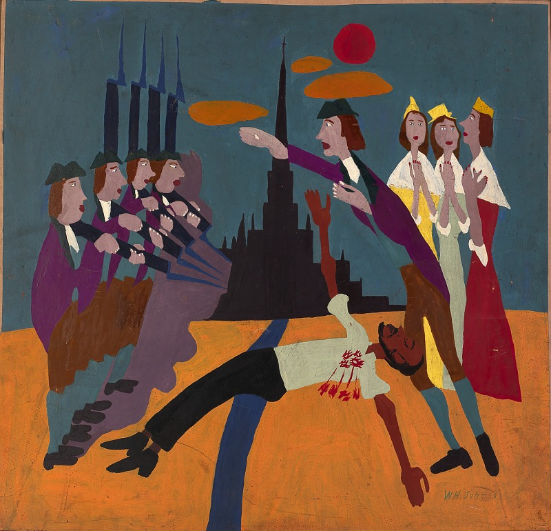 A painting showing people reacting to a dead African American body at the center. The steeple in the background evokes colonial Boston.