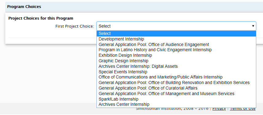 an image showing the dropdown menu for the application's project choices