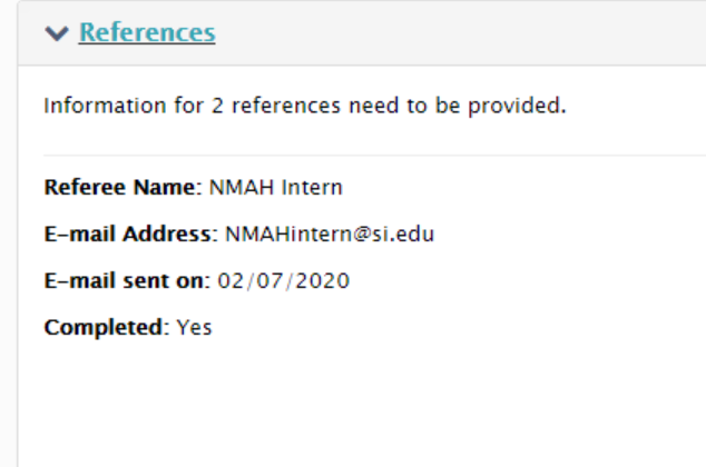 A screenshot from a submitted SOLAA application to show that the reference status is completed