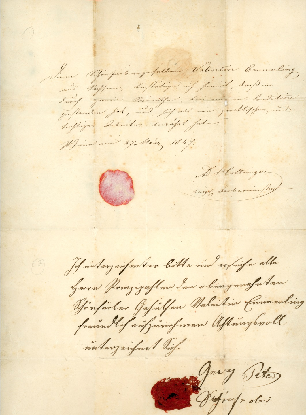 An old letter with script on it and the remnants of a wax seal.
