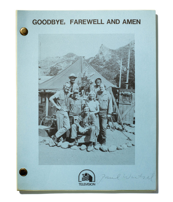 "Blue book with photos of show cast and text: ""Goodbye, Farewell and Amen"""