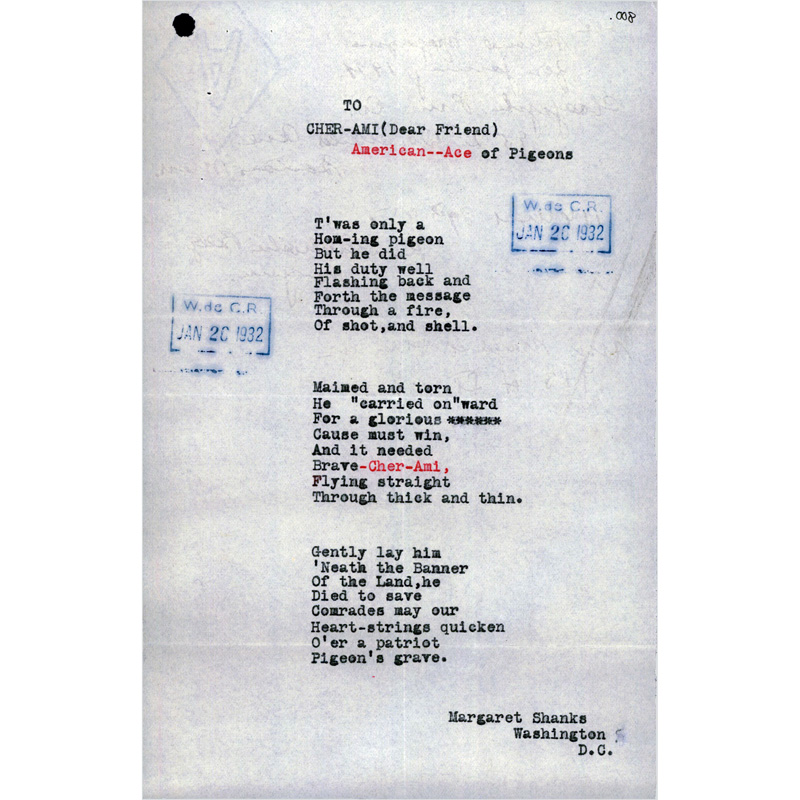 """Typed copy of Margaret Shanks poem, """"To Cher-Ami, American 'Ace' of Pigeons."""""""