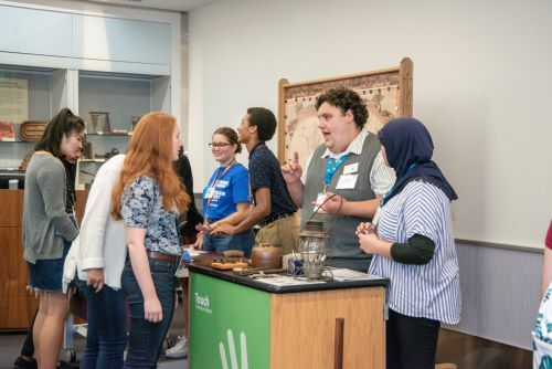 A small group of interns presents a hands-on daily program during the NMAH Intern Share Fair, Summer 2019.