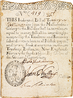 Massachusetts colony 20 shillings note