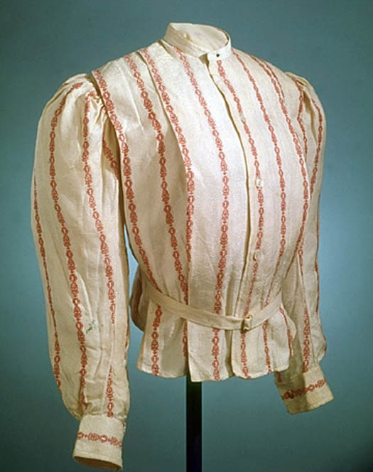 A stripped shirt gathered at the waist.