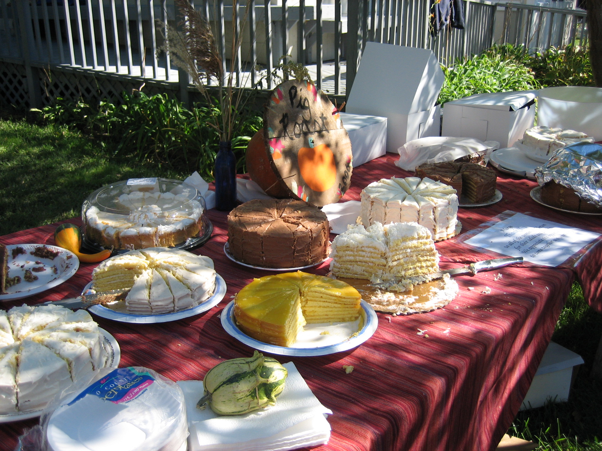 Table at a community picnic covered in cakes.
