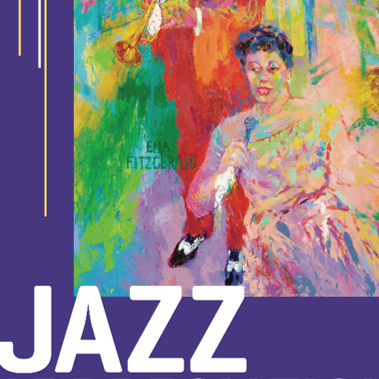 "Image with painting of Ella Fitzgerald and the word ""Jazz"""