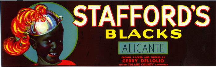 A label for Stafford Blacks wine including a ethnic stereotype of a black child.