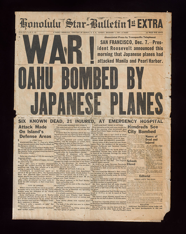 "A newspaper article with the headline ""War! Oahu Bombed by Japanese Planes"""