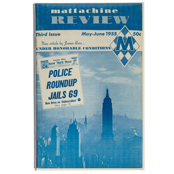 """A blue magazine with the words """"Mattachine Review, Police Roundup Jails 69:"""