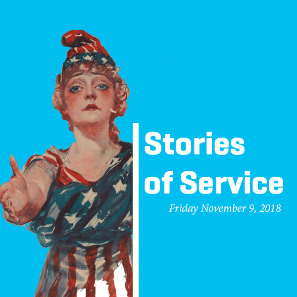 Stories of Service reads the text, with a patriotic woman on the left