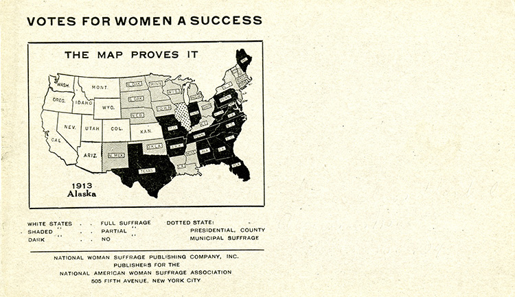 Woman suffrage postcard showing a map of the United States