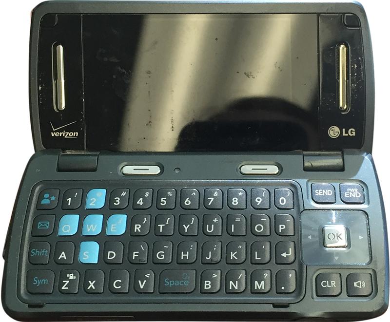 A black flip phone
