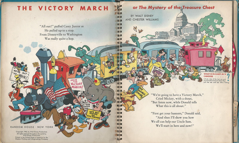 "Two page spread from the book ""The Victory March"" shows a train full of Disney characters perched near the Capitol building in Washington, D.C."
