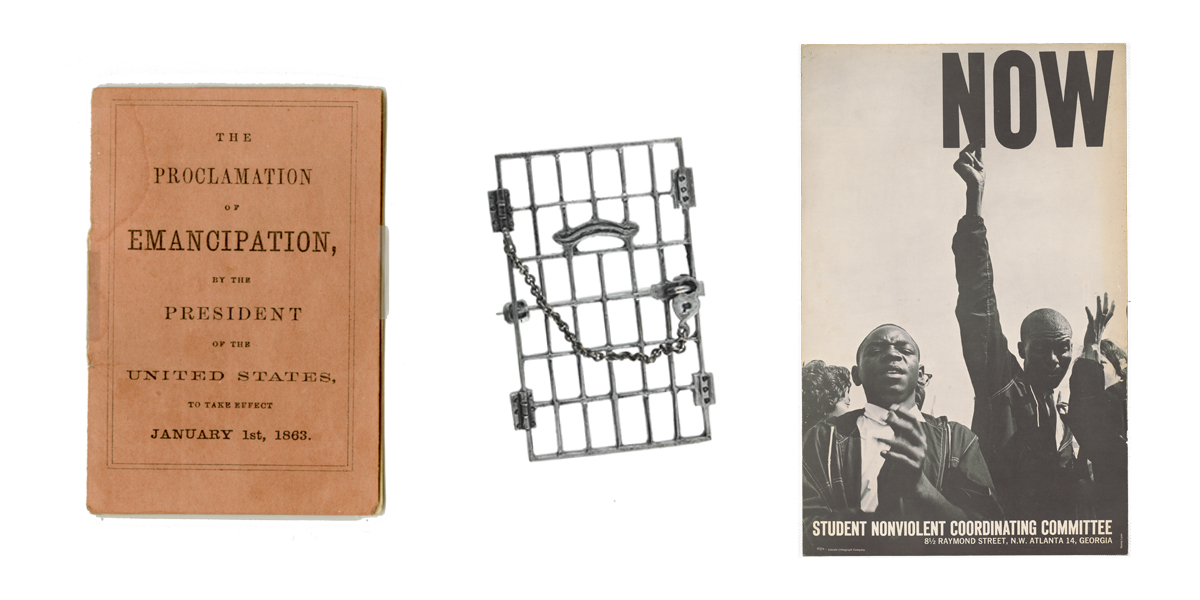 The Emancipation Proclamation, a Jailed by Freedom pin, and a poster from the Civil Rights movement