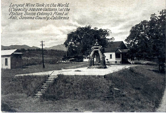 "Black and white postcard ""Largest wine tank in the world (capactiy 500,000 gallons) at the Italian Swiss Colony's Plant at Asti, Sonoma County, California"""