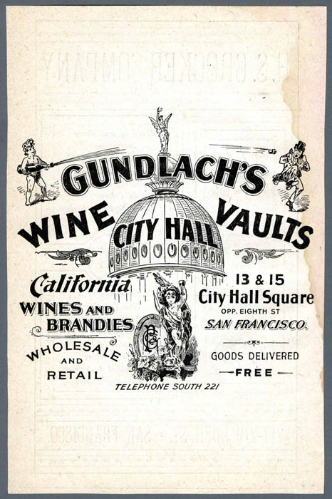 An old advertisement for Gundlach's Wine City Hall Vaults