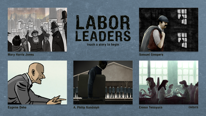Logo with screenshots from videos in the Labor Leaders series of videos and link