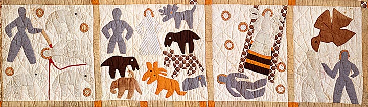 Four quilt blocks depicting scenes from the Bible