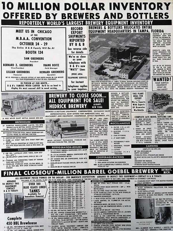 "A black and white advertisement. The headline reads ""10 Million Dollar Inventory Offered by Brewers and Bottlers: Reportedly World's Largest Brewery Equipment Inventory."" The add includes details of the equipment and photographs."