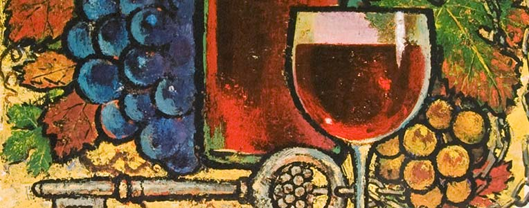 Close-up of wine poster