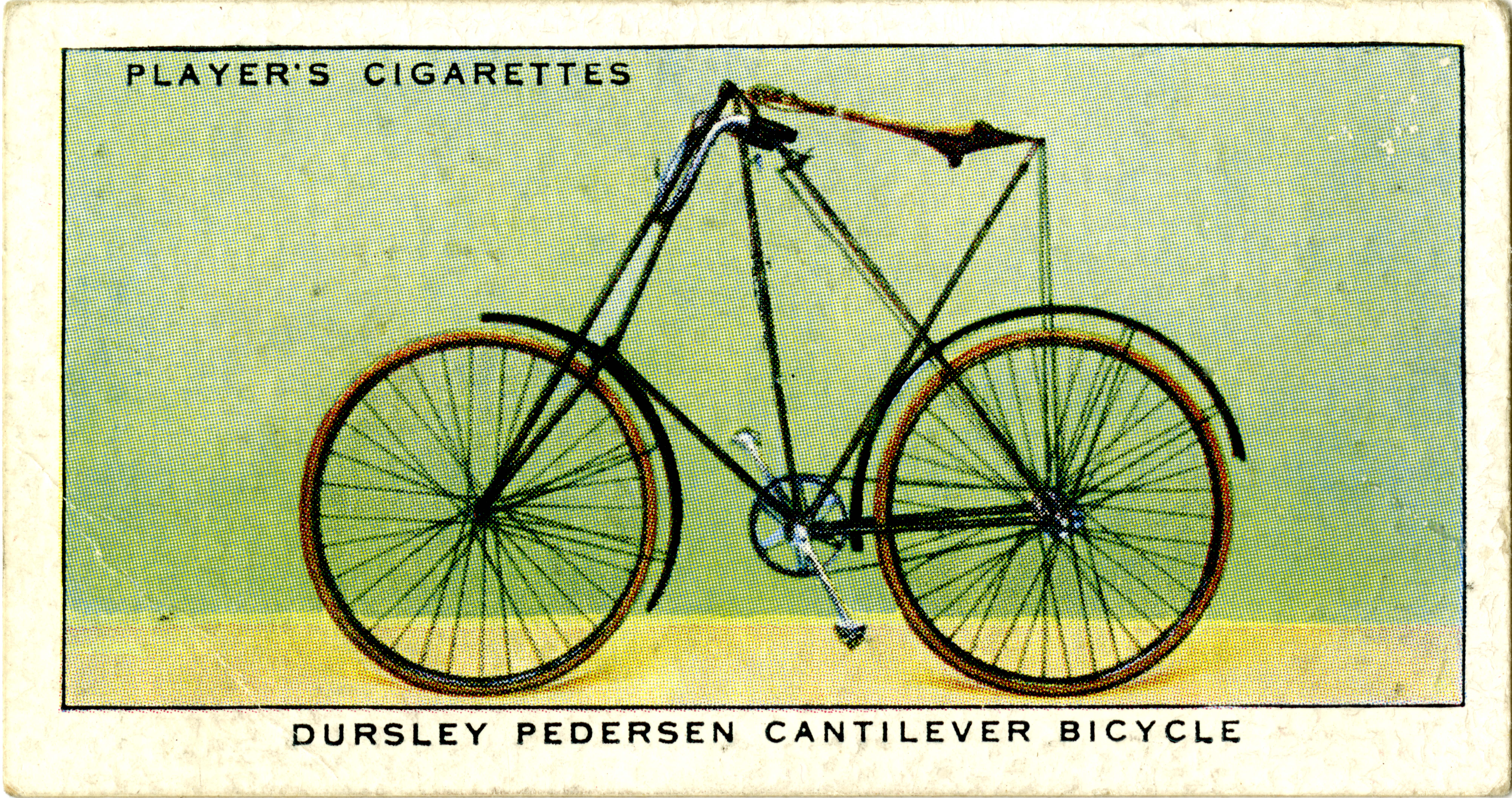 Players trading card, Dursley Pederson Cantilever Bicycle, undated