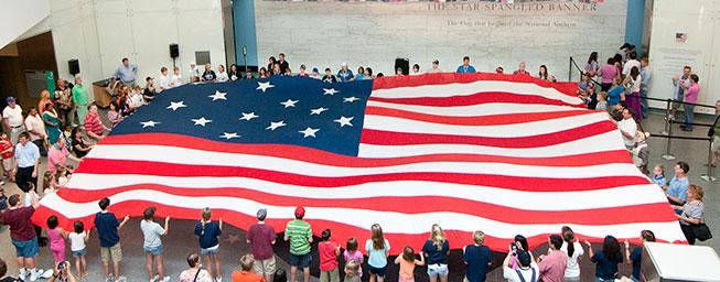 Flag folding demonstration