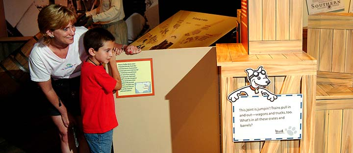 Child looking at interactive exhibit