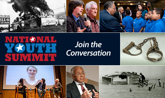 """Photos from past National Youth Summit and text, """"Join the Conversation"""""""