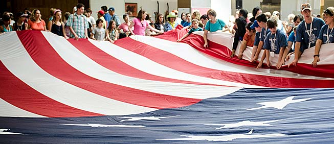 Flag-folding at the National Museum of American History