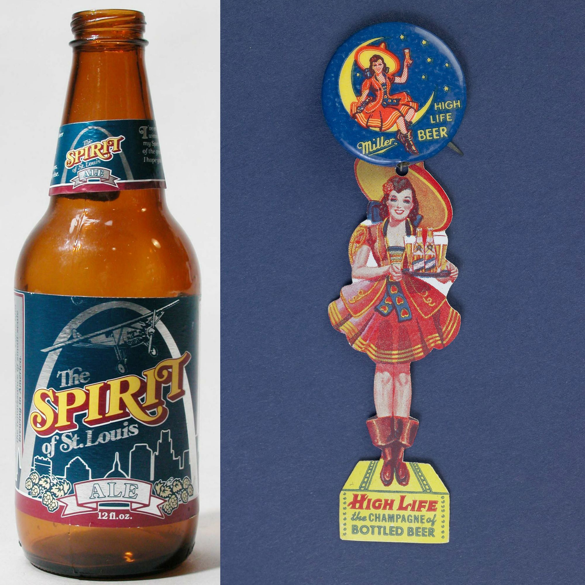 Beer bottle and advertising piece