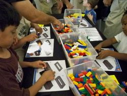 Museum visitors with legos