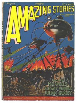 Fictional ray guns on the cover of the August 1927 Amazing Stories