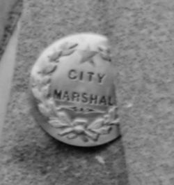 Detail of badge, City Marshal by Barr & Wright, 1870-1880