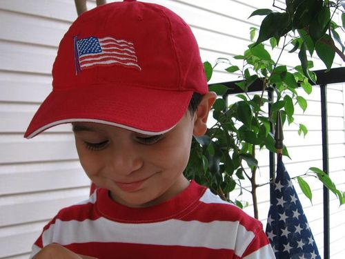 Boy in American flag hat