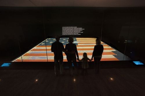 Visitors in the Star-Spangled Banner exhibition