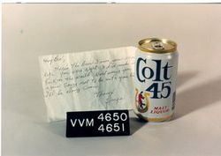 Note and Colt 45 Beer Can from Vietnam Veterans Memorial
