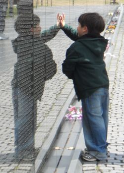 Evan at the Vietnam Veterans Memorial