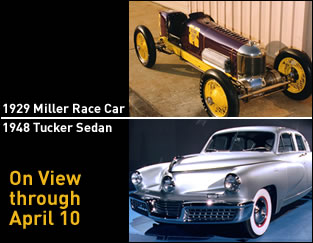 Race to the Museum! winners: the Tucker '48 sedan and the Miller '29 Indy car