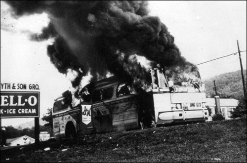 Freedom-rides burning bus