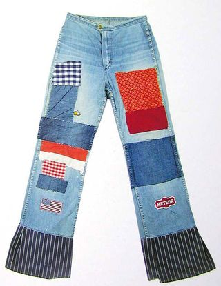 Jeans with flag patch, 1960s