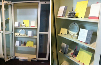 reusing old storage cabinets to mock-up new exhibit cases