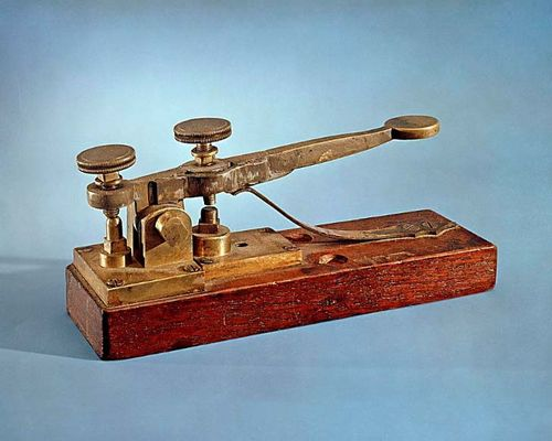 This 1844 telegraph key by Alfred Vail, improving on Morse's original design, is believed to be from the first Baltimore-Washington telegraph line.