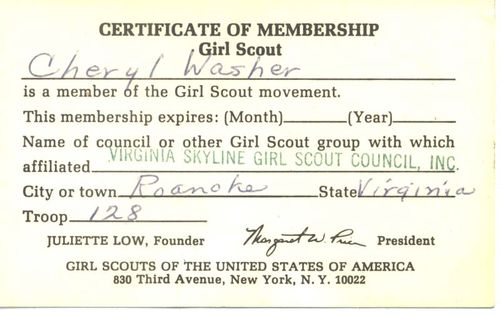 Membership card back
