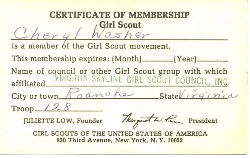 100 years of girl scouts part i national museum of american history membership card back cheryls girl scout yadclub Image collections